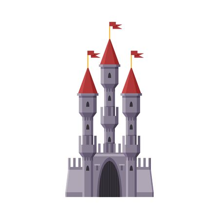 Medieval Castle, Stone Fairytale Fortress, Ancient Fortified Palace Exterior Vector Illustration