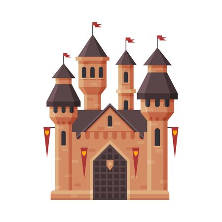 Medieval Castle, Fairytale Fortress with Towers and Red Flags, Ancient Fortified Palace Exterior Vector Illustration