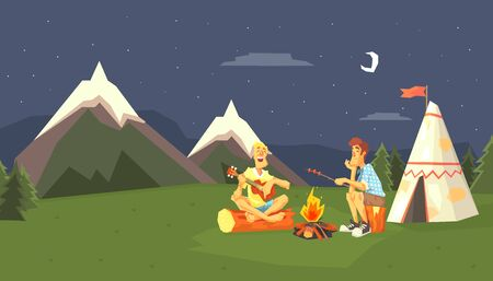 Male Tourists Camping at Evening Time Against Summer Mountain Landscape Vector illustration