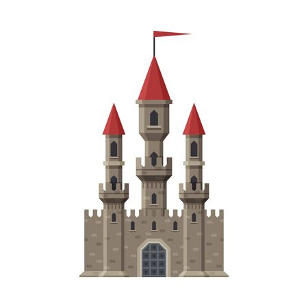 Medieval Fairytale Castle with Towers and Flag, Ancient Fortified Palace Exterior Vector Illustration