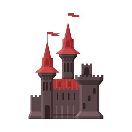 Medieval Castle, Stone Fortress with Red Flags, Ancient Fortified Palace Exterior Vector Illustration