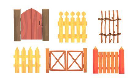 Vallas de madera, colección de setos, campo, elementos de paisaje rural ilustración vectorial