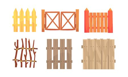Different Wooden Fences Collection, Countryside, Rural Landscape Elements Vector Illustration Vettoriali