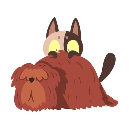 Cat and Dog, Funny Pets Animals Characters are Best Friends Vector illustration on White Background.