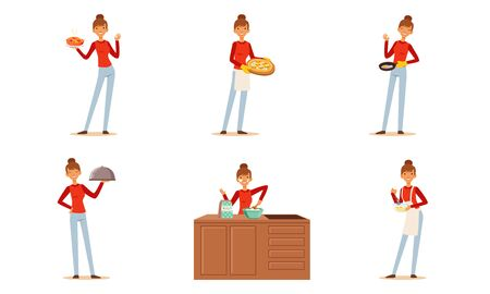 Cheerful Woman Cooking at Home Collection, Housewife Preparing Food in the Kitchen Vector Illustration 矢量图像