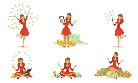 Beautiful Happy Rich Woman Set, Girl Millionaire Character in Red Dress with a Lot of Money Money, Financial Success Vector Illustration Ilustrace