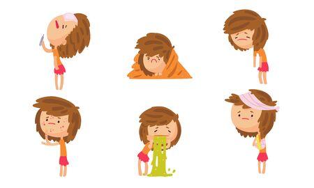 Fille malade souffrant de différents symptômes Collection, personne de sexe féminin ayant une température élevée, froid, faiblesse, éruption cutanée, vomissements, illustration vectorielle de maux de tête