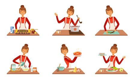 Young Cheerful Woman Cooking and Baking at Home Set, Housewife Preparing Food in the Kitchen Vector Illustration