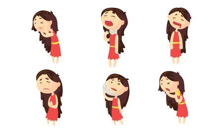 Chica de enfermedad que sufre de colección de diferentes síntomas, persona de sexo femenino que tiene dolor de cabeza, dolor de muelas, dolor de garganta, dolor de estómago ilustración vectorial Ilustración de vector