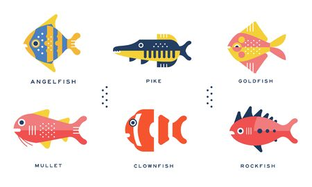 Freshwater and Ocean Fishes Collection, Angelfish, Pike, Goldfish, Mullet, Clownfish, Rockfish Vector Illustration 스톡 콘텐츠 - 137684571