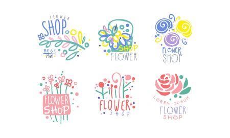 Flower Shop Retro Labels Collection, Colorful Hand Drawn Badges Vector Illustration