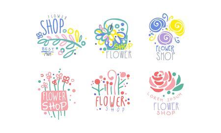 Flower Shop Retro Labels Collection, Colorful Hand Drawn Badges Vector Illustration