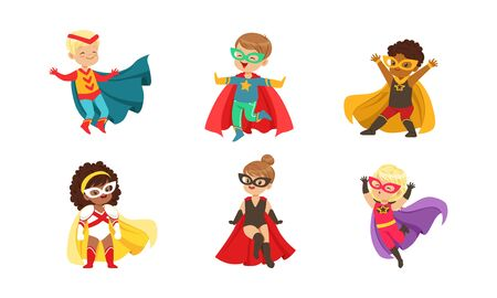 Kid Superheroes Collection, Cute Happy Boys and Girls Wearing Superhero Costumes and Masks Vector Illustration Illustration