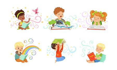 Adorable Little Boys and Girls Reading Fairy Tale Books Collection Vector Illustration
