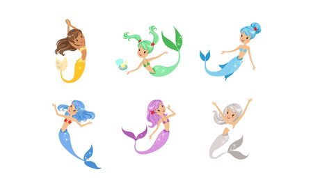 Cute Mermaids Collection, Adorable Sea Princesses with Colorful Hair and Tails Vector Illustration