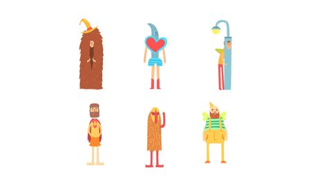 Freak Funny Men in Fancy Costumes Collection, Freaky Masquerade or Carnival Costume, Creative Crazy Party Vector Illustration Stock Illustratie