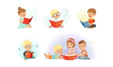 Adorable Little Boys and Girls Reading Fairy Tale Books Collection, Kids Fabulous Imagination Vector Illustration  イラスト・ベクター素材