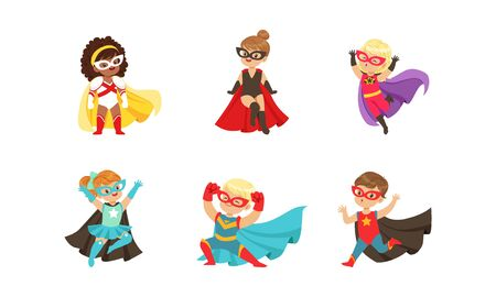 Kid Superheroes Collection, Cute Happy Boys and Girls Wearing Superhero Costumes Vector Illustration
