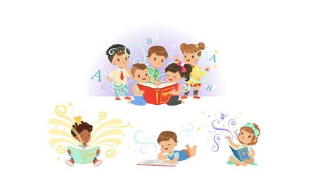 Adorable Little Kids Reading Fairy Tale Books Collection Vector Illustration