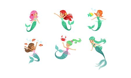 Cute Beautiful Mermaids Collection, Lovely Sea Princesses with Colorful Hair Vector Illustration on White Background.  イラスト・ベクター素材