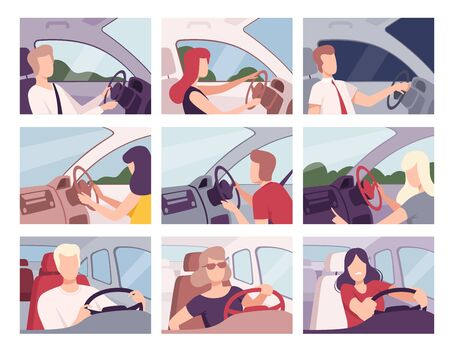 People Driving Cars Collection, Female and Male Drivers Characters Sitting Inside Vehicles Vector Illustration