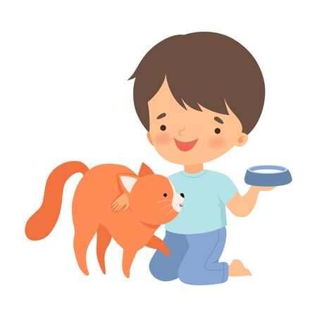 Little Boy Stroking Cat and Putting Down the Bowl of Milk Vector Illustration 向量圖像