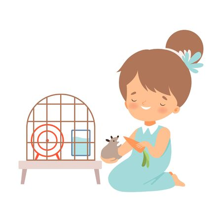 Little Girl Sitting on the Floor and Holding Hamster to Feed Vector Illustration 向量圖像