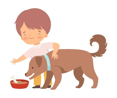 Little Boy Feeding His Puppy Vector Illustration