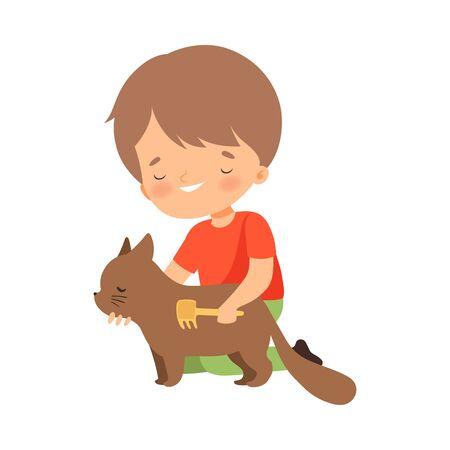 Little Boy Brushing His Cat Vector Illustration