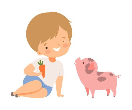 Little Boy Holding Carrot to Feed His Pig Pet Vector Illustration