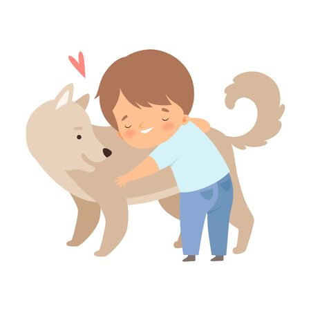 Little Boy Embracing His Dog Feeling Happiness Vector Illustration