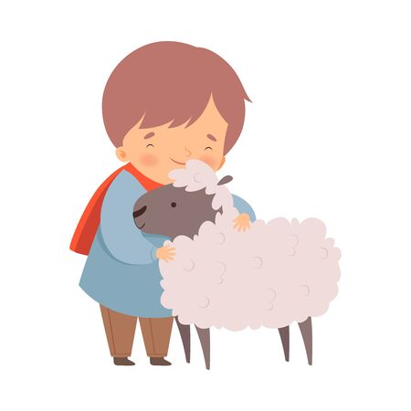 Little Boy Embracing Sheep Feeling Happiness Vector Illustration