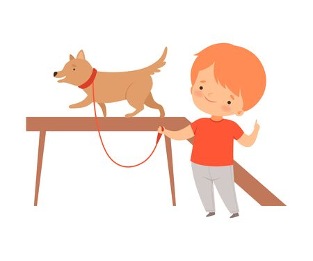 Little Boy Training His Dog Isolated on White Background Vector Illustration