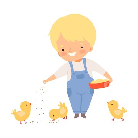 Little Boy Feeding Chickens on the Farm Vector Illustration 向量圖像