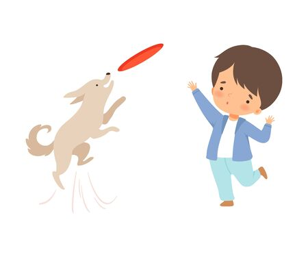 Little Boy Throwing Plate to His Dog Isolated on White Background Vector Illustration