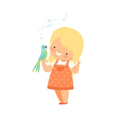 Little Girl Standing with Parrot on Her Arm Listening to Its Song Vector Illustration