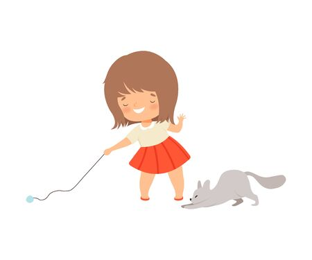 Little Girl Playing with Her Cat Using Ball of YarnVector Illustration