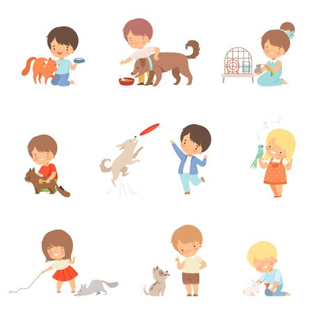 Little Children Taking Care of Domestic Animals and Playing with Them Vector Set 向量圖像