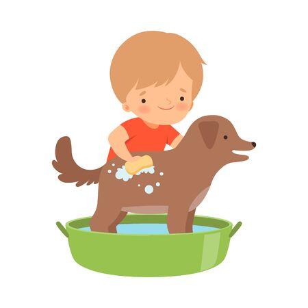 Little Boy Washing His Dog in Washbasin Vector Illustration 版權商用圖片 - 137870471
