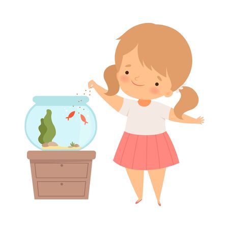 Little Girl Standing Near Fish Bowl and Feeding Fish Vector Illustration