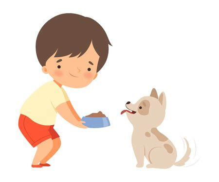 Little Boy Carrying Bowl to Feed His Puppy Vector Illustration