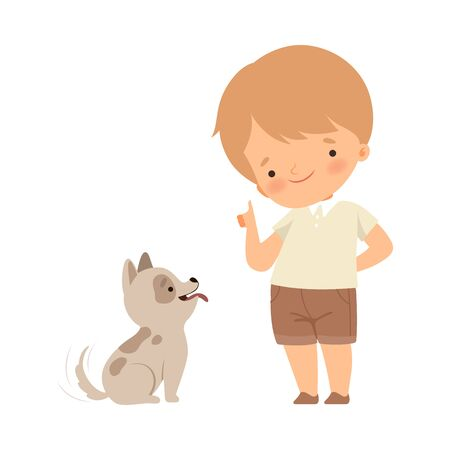 Little Boy Teaching His Dog Some Tricks Isolated on White Background Vector Illustration