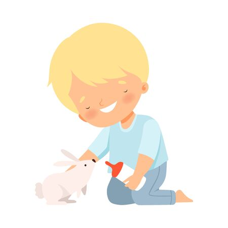 Little Boy Feeding His Fluffy Rabbit Isolated on White Background Vector Illustration