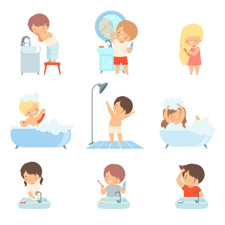 Children Taking Bath and Washing Themselves Vector Illustrations Set. Little Girl Brushing Her Hair and Boy Washing His Face 向量圖像