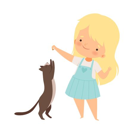 Little Girl Playing with Her Cat Pet Holding Something in Hand Up in the Air Vector Illustration 向量圖像