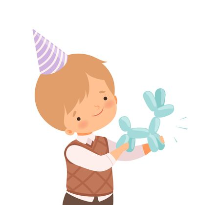 Little Boy Wearing Birthday Hat Holding Animal Twisted from Balloon Vector Illustration
