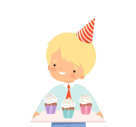 Little Boy Wearing Birthday Hat Carrying Cupcakes Vector Illustration