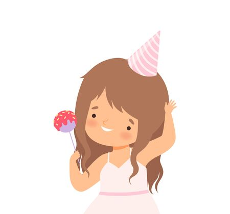 Little Girl Wearing Birthday Hat Holding Candy Vector Illustration Ilustrace