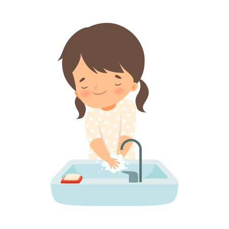 Little Girl Holding Soap Washing Her Hands in the Sink Vector Illustration