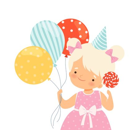Little Girl Wearing Birthday Hat Carrying Candy and Bunch of Balloons Vector Illustration